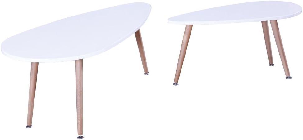 Habitat y jardín – Juego de 2 mesas bajas Billy – 100 x 50 x 40 cm – blanco: Amazon.es: Jardín