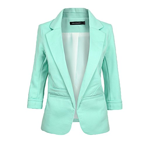 Lime Green Leisure Suit (MIKTY Candy Color Blazer Rolled up Sleeve OL Leisure Suit for Womens and Juniors Green 2XL)