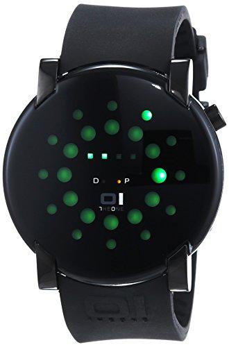 01TheOne Men's GRR213G3 Gamma Ray Round Green LED Gun-Metal Watch