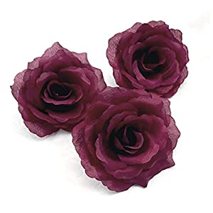 Silk Rose Artificial Flower Big Blooming Head Wedding Decoration DIY Party Festival Home Decor Wreath Valentine Gift Scrapbooking Crafts (4 inches Wide) 89