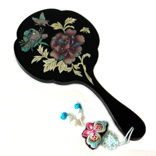 Cheap Mother of Pearl Peony Flower Design Black Wooden Cosmetic Makeup Vanity Hand Lady Mirror