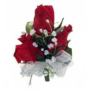 TheBridesBouquet.com Red Silk Rose Corsage - Wedding Corsage Prom- Wrist Corsage 88