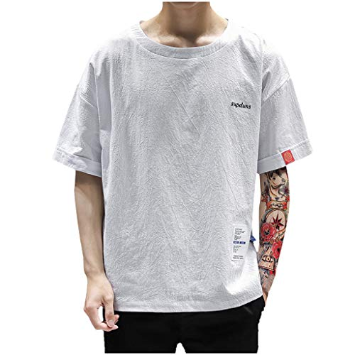 Willow S Men's Summer Cooling Patchwork Premium Casual Inner Contrast T-Shirt Tops Blouse White