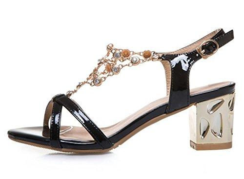 Mofri Women's Sexy Rhinestone Buckle Slingback Bridal Shoes Medium Block Heels Sandals (Sexy Buckle)