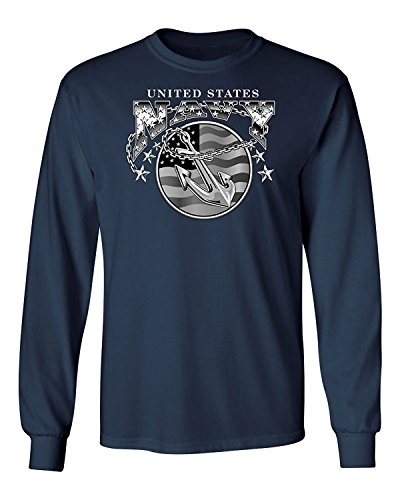 Ride Eagle (Lucky Ride US Mens Thermal Shirt Bald Eagle Anchor Naval Shield Longsleeve,Navy Dark Blue,M)