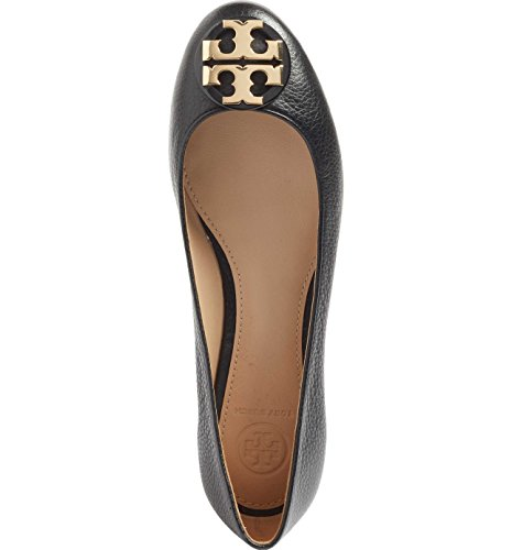 Tory Burch Claire Ballerina Flat, Tumbled Leather, Black (9) -