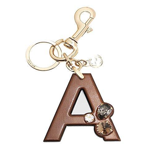 Gucci 'A' Brown Leather Key Ring Handbag Charm with Swarovski Crystals 369474