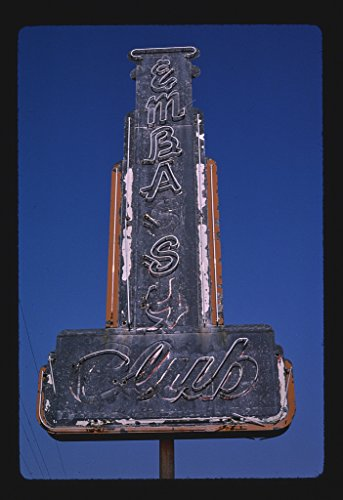 16 x 24 Gallery Wrapped Framed Art Canvas Print of Embassy Club Sign, Meridian, Mississippi 1982 Roadside Americana Ready to Hang 51a