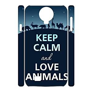 3D Samsung Galaxy S4 Case KEEP CALM Quote,keep Calm and Love Animals, Girl Protective Keep Calm Quote Zachcolo, {White}