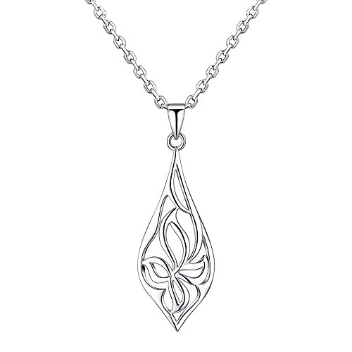 RSJewel Sterling Silver Filigree Blossom Design Pendant With Length Adjustable Chain Necklace