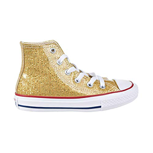 Converse Girls Kids' Chuck Taylor All Star Sport Sparkle High Top Sneaker, Gold/Enamel Red/White, 11 M US Little - Hi Star Sneaker Leather