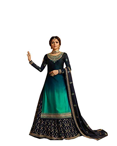 Delisa Indian/Pakistani Ethnic wear Georgette Straight Salwar Kameez for Womens (Sky Blue, X-LARGE-44)