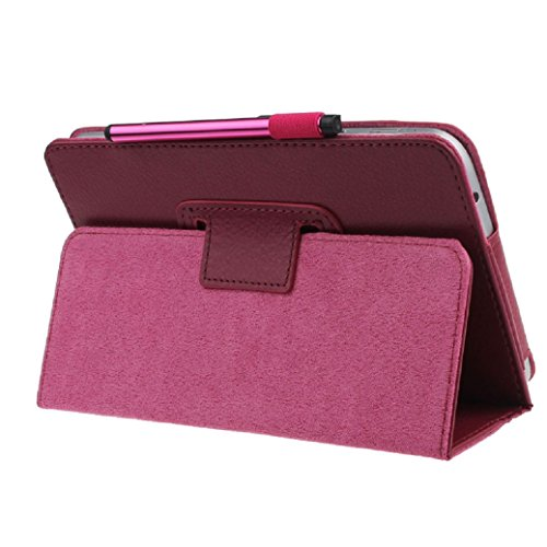 For Samsung accessories,Kshion Leather Case Stand Cover Shockproof [Anti Slip] for Samsung Galaxy Tab 4 7Inch Tablet SM-T230 SM-T231+Film +Pen+ Reel (Hot Pink) (Galaxy Pedestal)