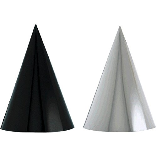 Amscan 250437 Black & White Foil Cone Hat, 7