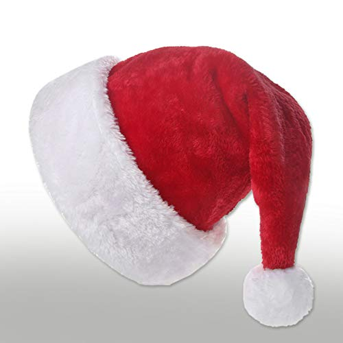 Innlife Christmas Santa Hat for Adults, Traditional Red and White Plush Velvet Party Hat with Liner -
