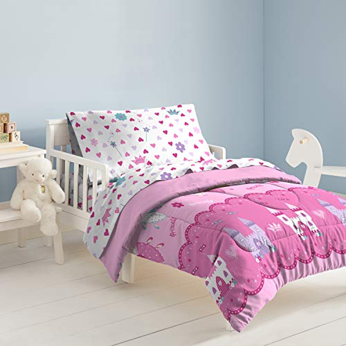 Dream Factory Magical Princess 4 Piece Bedding Set, Toddler, Pink