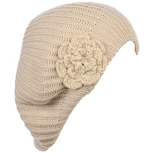(Be Your Own Style BYOS Ladies Winter Solid Chic Slouchy Ribbed Crochet Knit Beret Beanie Hat W/Flower Adornment)