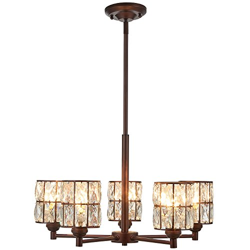 Doraimi 3 5 Light Crystal Chandelier Lighting Modern and Concise Style Ceiling Light Fixture with Polyhedral Crystal Shade for Foyer Dining Room Living Room Family Room Brown, 5 Light