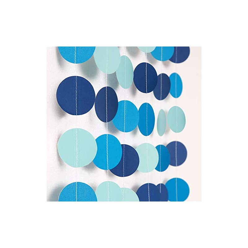 silk flower arrangements decor365 blue circle dot garland bubble streamer summer under the sea party decoration pool beach ocean bubble hanging bunting banner backdrop mermaid birthday/wedding/baby shower/kids room partydecor
