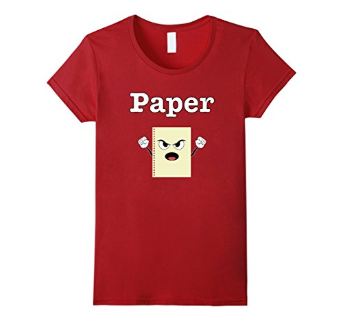 Trio Group Halloween Costumes (Womens Rock PAPER Scissors Shirt Matching Halloween Group Costume Small Cranberry)