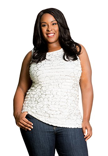 Sealed with a Kiss Designs Plus Size Tops - Gabriella Ruffle Tank 1X White