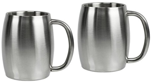 Stainless Steel Beer Mug, Coffee Mug, Smooth Barrel Shape Double Wall 14oz (2)