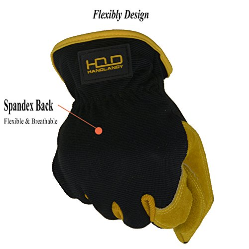 Men Work Gloves for Gardening, Mechanics, Construction, Driver, Cowhide Leather Palm, Dexterity Breathable Design by HANDLANDY (Image #1)