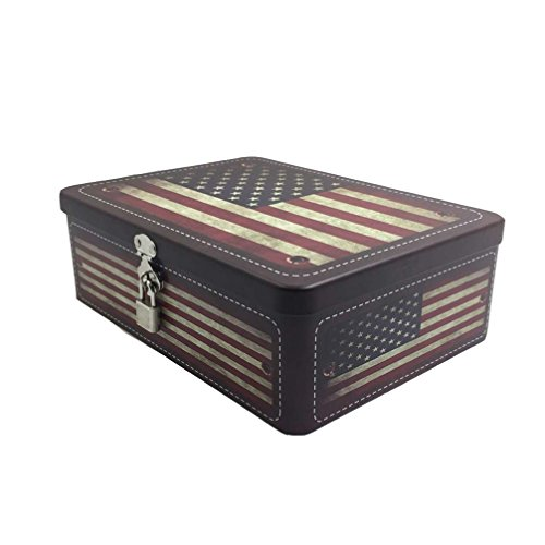 Luwint Secret Storage American Flag Box - Letter Cookies Case with Key & Lock Gift for Friend Birthday Home Decor (1 Piece/Large)