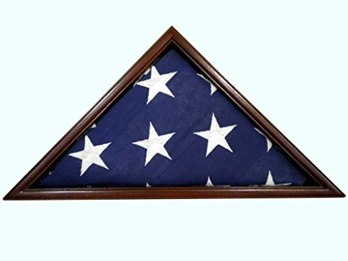 Solid Mahogany Flag Case, 5x9.5' Veteran Memorial Burial Flag, USA Made, Fine Furniture Quality by USAFlagCases