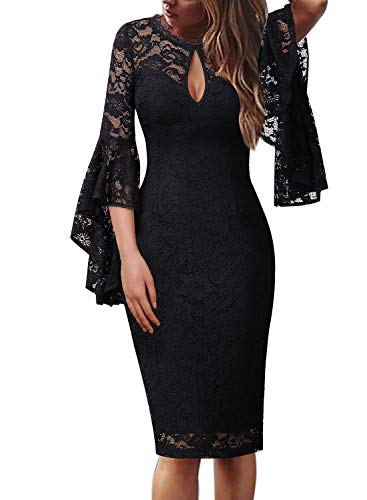 VFSHOW Womens Sexy Keyhole Front Bell Sleeves Cocktail Party Sheath Dress 960 BLK S