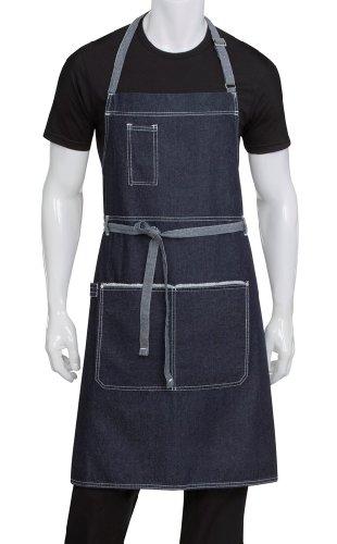 Chef Works Unisex Bronx Bib Apron, Indigo Blue, One Size (Chef Style Apron)