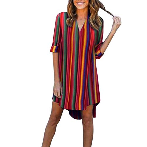 (Women Dress,Sexyp Vintage Boho Rainbow Stripe Camouflage Dress,Half Sleeve Evening Party Casual Beach Dress (Medium, Camouflage))