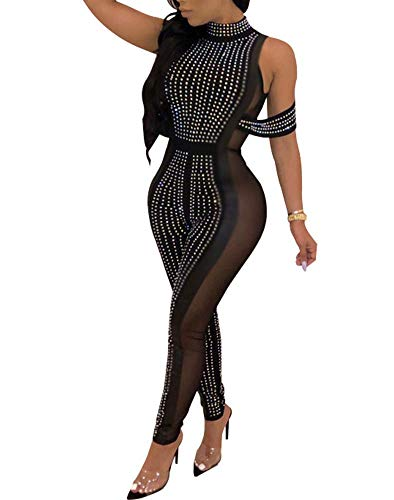 (OLUOLIN Womens Sexy Sleeveless Sequin Rhinestone Jumpsuit Halter Neck Backless See Through Bodycon Club Rompers)