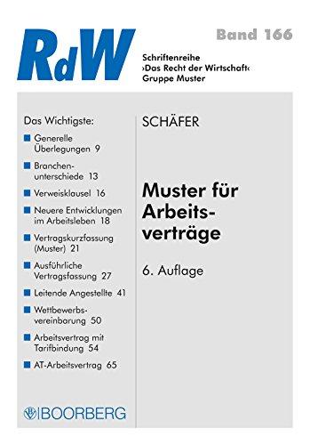 muster fr arbeitsvertrge recht der wirtschaft 166 german edition by schfer - Arbeitsvertrage Muster