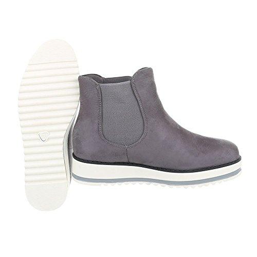 Ital-Design Zapatos Para Mujer Botas Plano Botines Chelsea Gris