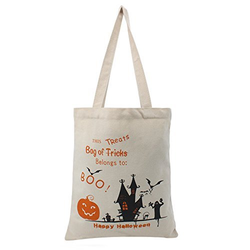 TOPULORS 2016 Halloween Candy Bag for Kids Halloween Candy Basket for Halloween Party Trick or Treat-White With (Halloween Candy Baskets)