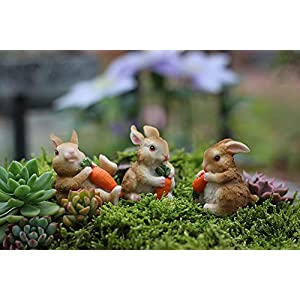 Muamax Miniature Bunnies 3 Sets Fairy Rabbit Figurines Easter Bunnies Statue Table Rabbit Spring Decoration