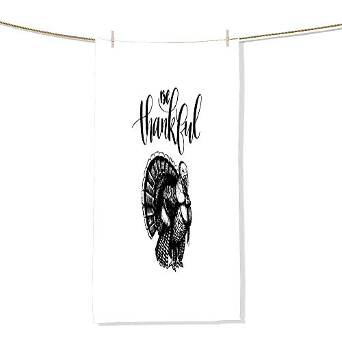 FootMarkhome Cotton Craft Beach Towel Be Thankful Lettering Vector Illustration of Turkey for Thanksgiving Day Invitation or Festive Greeting Card Highly Absorbent Towel-Size:13.8