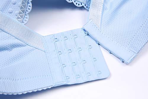 Front Ventilation Cup Bra Ring Hole Blue Gather Pregnant Anti Breastfeeding Refago Buckle No Women sagging Steel wAqY6vX