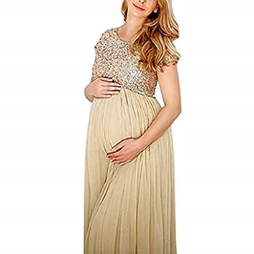 (Boho Maternity Dress Women Photography Photo Props Fancy Popular Long Maxi Gown Maternity Dress Women's Dresses Champagne)