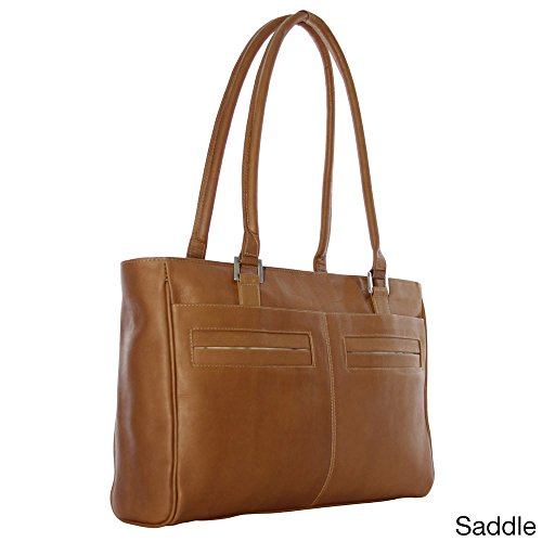 (Piel Leather Ladies Laptop Tote with Pockets, Saddle)