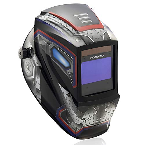 "Large Viewing Screen 3.9""X2.4"" True Color Solar Power Auto Darkening Welding Helmet, 4 Arc Sensor Wide Shade 4/5-9/9-13 for TIG MIG Arc Weld Grinding Welder Mask Robot Design"