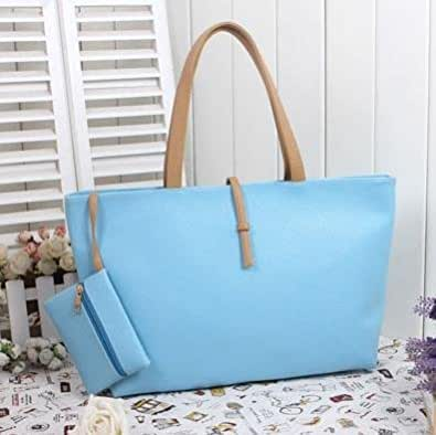 Classic Fashion Faux Leather Large Tote Bags with Coin Wallet (Light Blue)