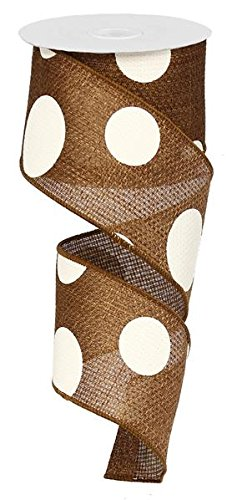 (Giant Multi Dots Faux Burlap Wired Edge Ribbon - 2.5 Inch x 10 yards (Brown, Ivory) : RG0120004)