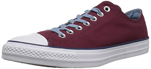 Converse Chuck Taylor All Star Color Blocked Low Top Sneaker, Dark Burgundy/Washed Denim, 8.5 M US by Converse