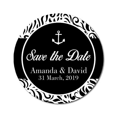 (Darling Souvenir Round 45 Pcs Anchor & Damask Save The Date Stickers Personalized Bride Groom Names and Date Envelope Seals - Black )