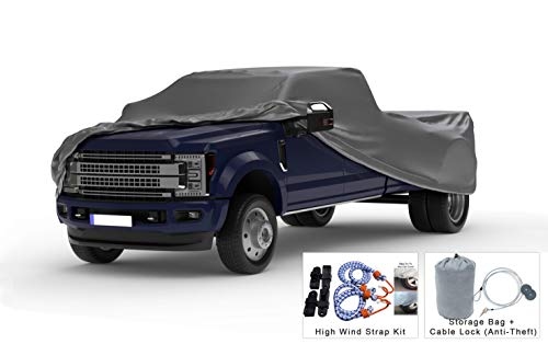 Weatherproof Truck Cover Compatible with 2003-2019 Ford F-350 Crew Cab~8 Ft Bed - 5L Outdoor & Indoor - Protect from Rain, Snow, Hail, Sun - Theft Cable Lock, Bag & Wind Straps