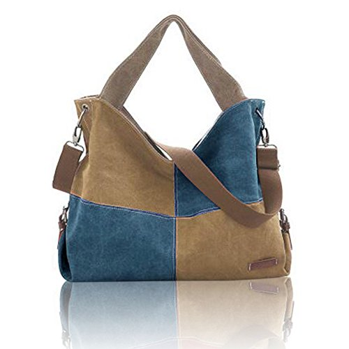 Retro Stitching Canvas Tote Bag Casual Shoulder Bags Large Shopping Bag Handbags Brown and Blue