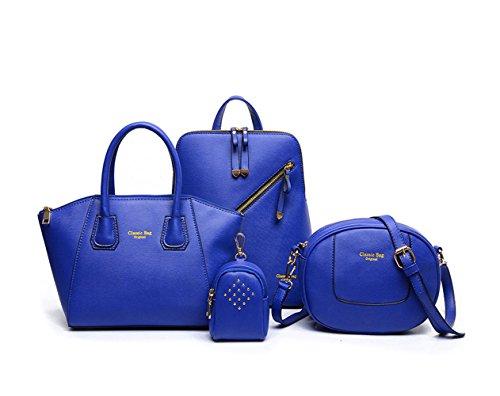 Bolsos para mujer Bolsos bandolera Shoppers y bolsos de hombro Cuero de PU Bolsos totes 4pcs Set Azul