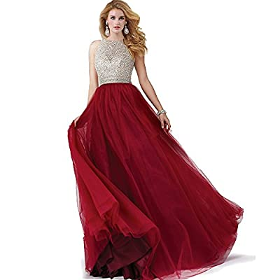 Sumintras sequin beaded keyhole back tulle ball gown prom dress
